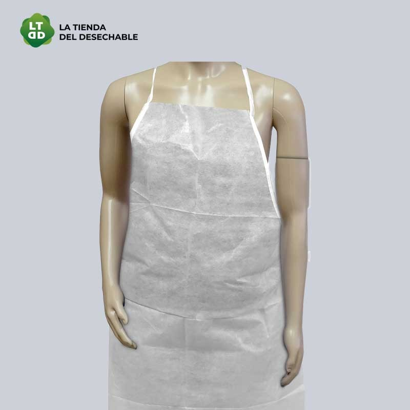 Delantal TST poliproplileno plastificado blanco 100uds